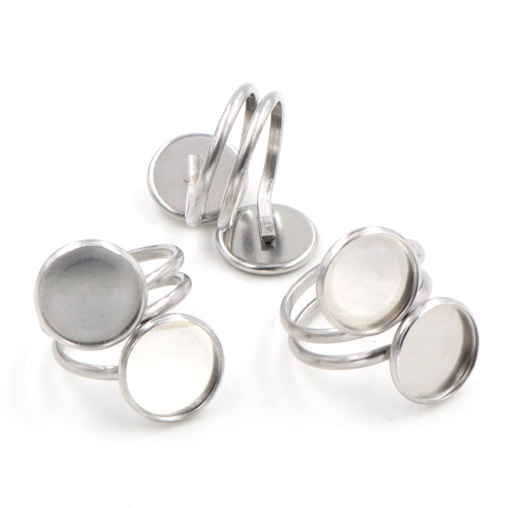 12mm 5pcs/Lot No Fade Stainless Steel Adjustable Ring Settings Blank/Base,Fit 12mm Glass Cabochons,Buttons;Ring Bezels-K2-15