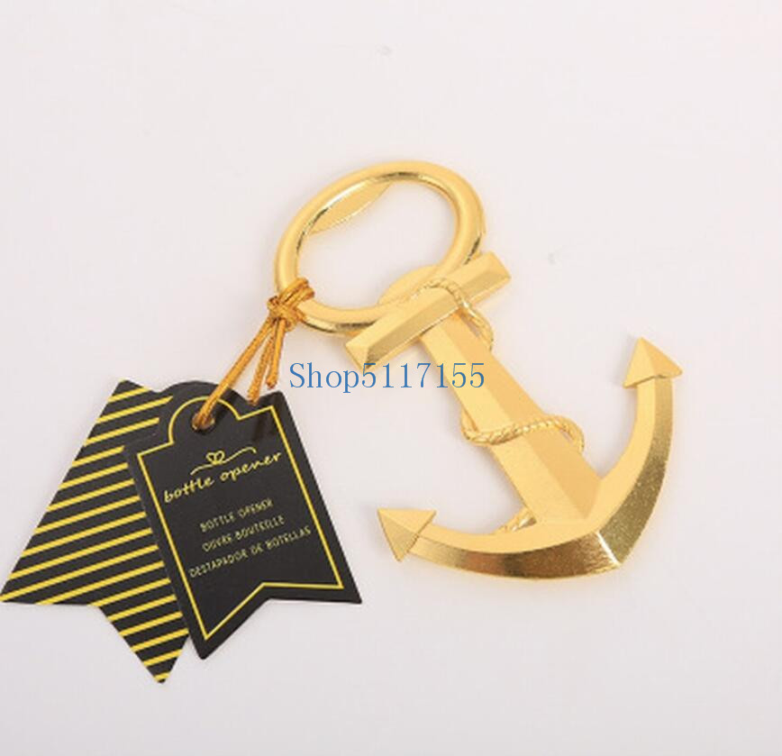 200pcs Unique Anchor Corkscrew Golden Bottle Opener For Wedding Gift Beach Themed Sea Party Kitchen Bar Wine Beer Openers Tools