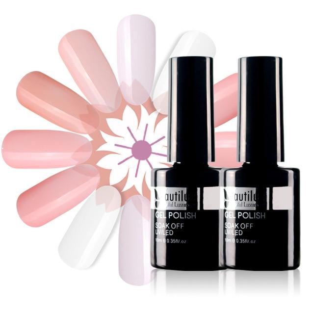Beautilux 1pc Klar Milchig Weiß Camouflage Nude Rosa Gummi Basis Mantel Gel Polish UV LED Soak Off Gel Nagel polish 10ml