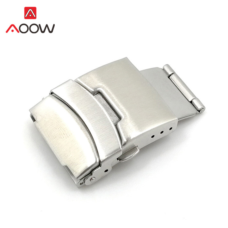 2pcs Stainless Steel Watchband Clasp Folding Buckle 16mm 18mm 20mm 22mm 24mm Double Press Silver Watch Repair Accessories