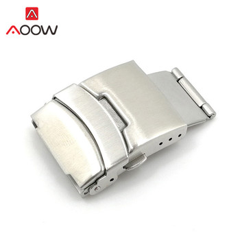 2pcs Stainless Steel Watchband Clasp Folding Buckle 16mm 18mm 20mm 22mm 24mm Double Press Silver Watch Repair Accessories - discount item  30% OFF Watches Accessories