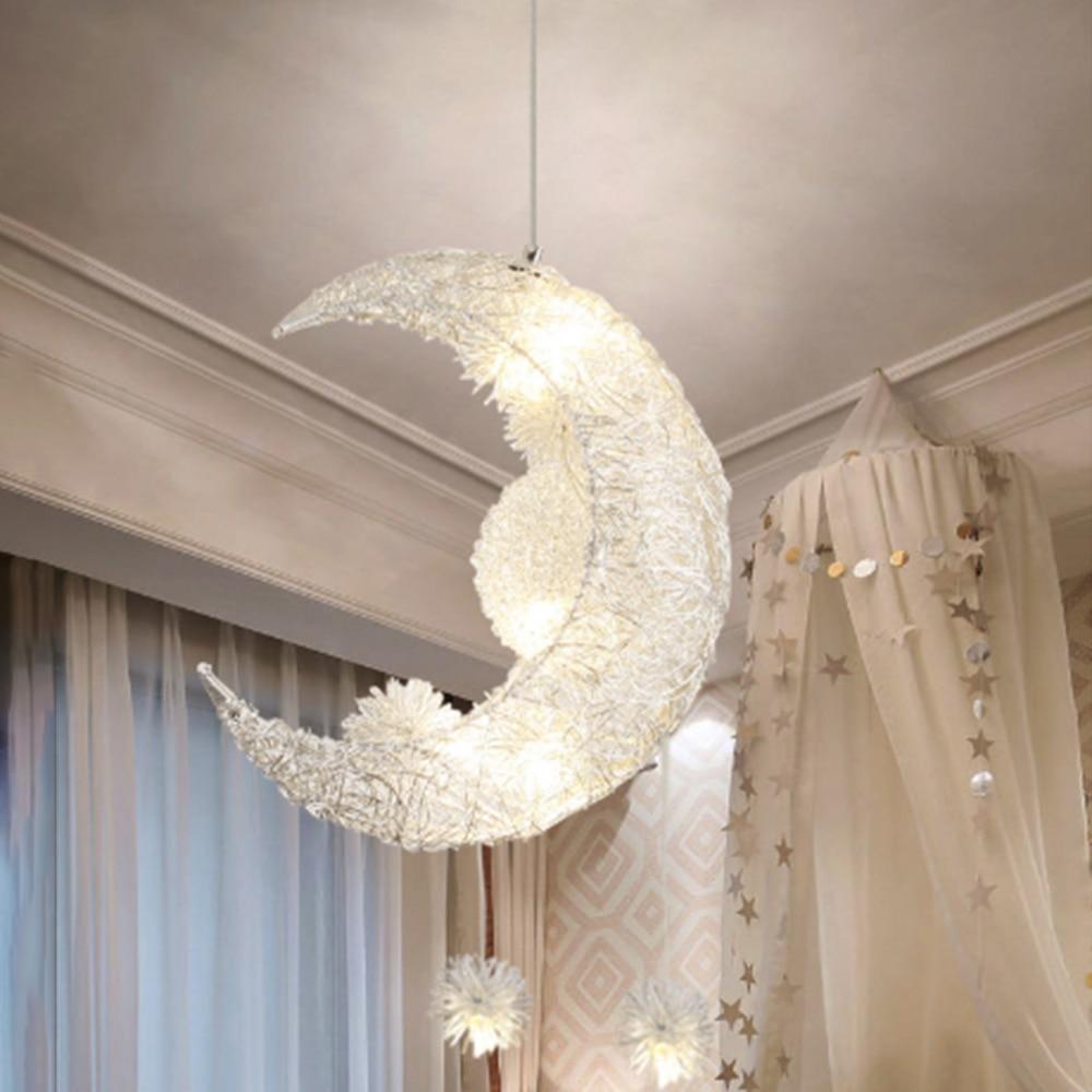 Nordic Artistic LED Aluminum Moon Chandelier Golden Hanging Lamps Decorative Fixture Lighting LED Home Lights