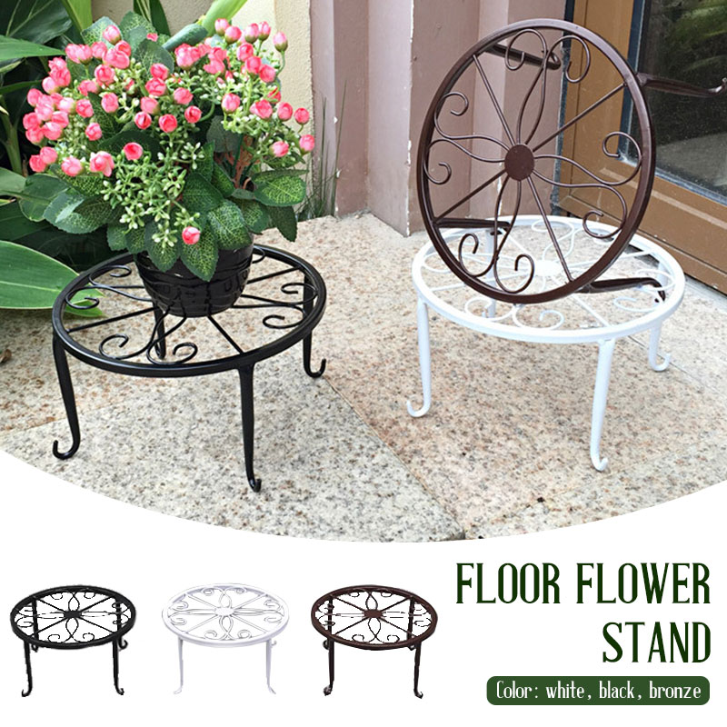 Flower Pot Rack Potted Stander Flower Shelf Create Durable Wrought Metal Iron Classic Style Balcony Floor Garden Plant Stand