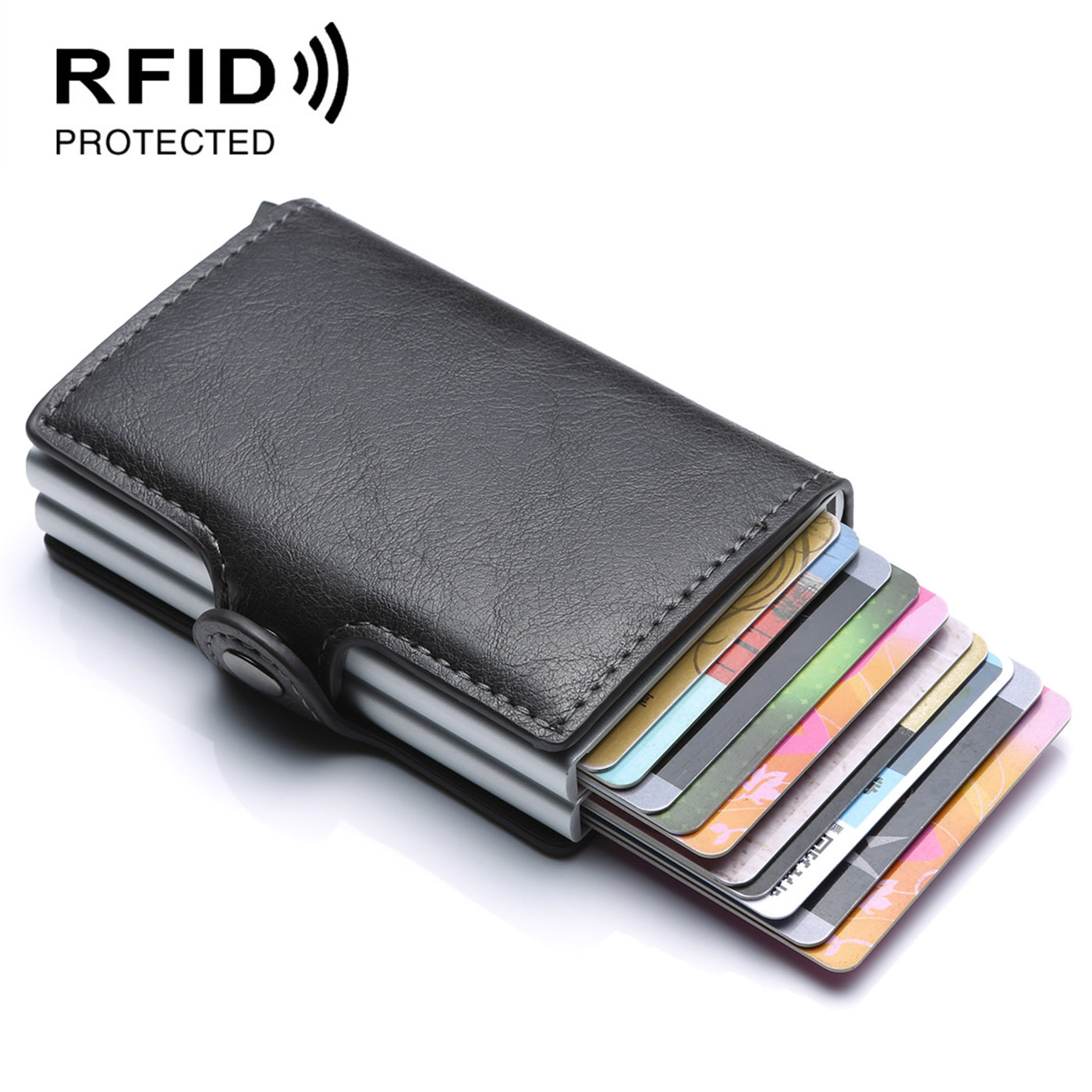 2019 RFID Card Wallet Case ID Metal Credit Card Holders With RFID Vintage Business Double Aluminum Wallet for Credit Card image