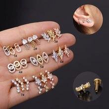Novo 1pc 16g cruz estrela de aço inoxidável labret lábio barra anéis parafuso prisioneiro cartilagem orelha piercing corpo jóias