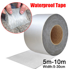 Ruban adhésif imperméable résistant aux hautes températures, 5-10M, feuille d'aluminium, épais, butyle, pour réparation de conduits de toit, fissures murales