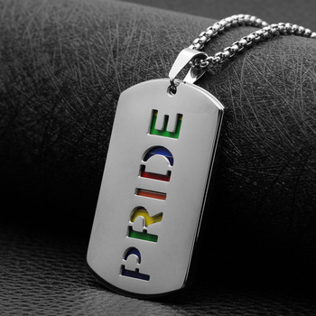 Rainbow Gay Pride Necklace Woman Lesbian Long Chain LGBT Stainless Steel Dog Tag Necklace Jewelry Collar Pendant for Women Gift 1