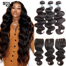 30 32 34 36Inches Body Wave Bundles With Closure Remy Body Wave Human Hair With Lace Closure Brazilian 3 Bundles with closure
