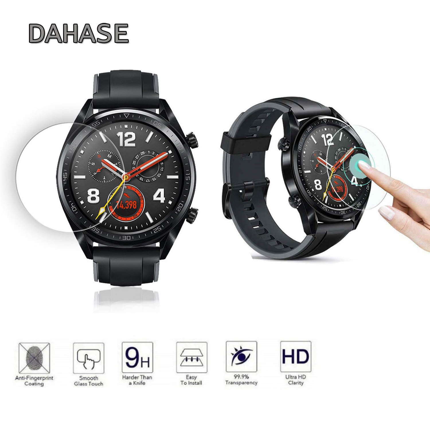 2pcs Tempered Glass For Huawei Watch GT Screen Protector Anti Explosion Protective Screen Anti-Shatter Tempered Film Cover