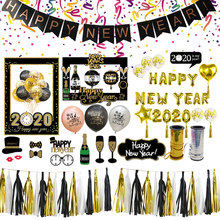 Happy New Year Decoration Foil 2020 Balloon Black Banner Photo Booth Frame Props Merry Christmas Decor Navidad