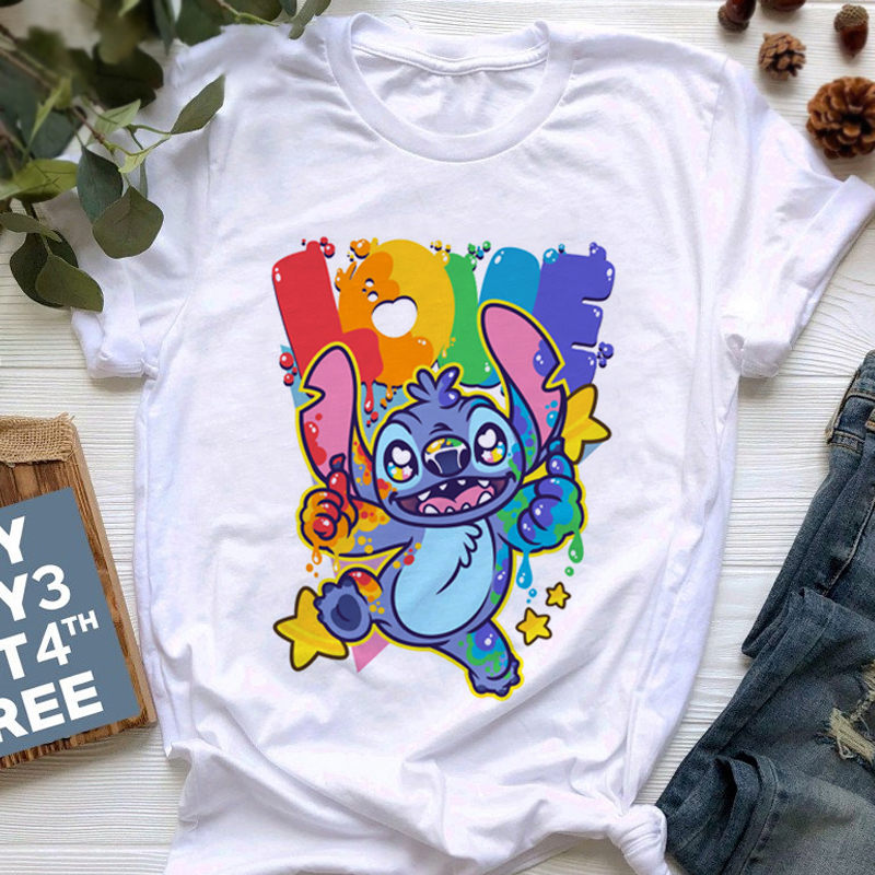 Women Shirts Tops Harajuku T Shirt Women Kawaii Stitch Cute T-shirt Funny Women's Summer Shirts Korean Tshirt Oversized T-shirt