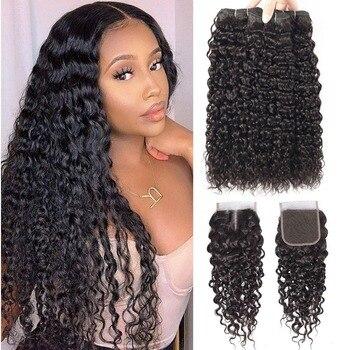 Beaudiva Hair Water Wave Bundles With Closure Curly Brazilian Water Wave Bundles With Closure Brazilian Human Hair Weave Bundles