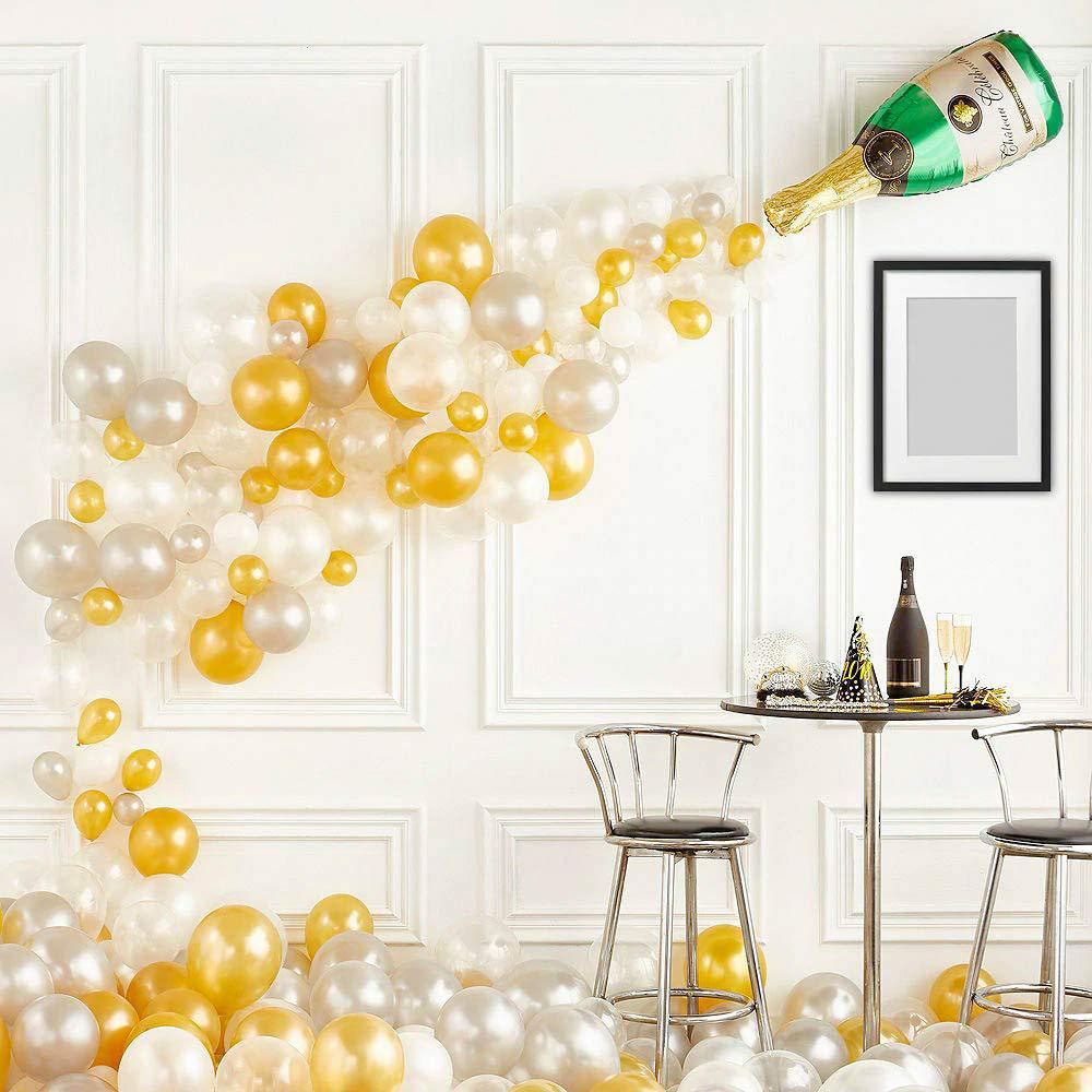 DIY Birthday Party Wedding Baby Shower Balloons Decoration Silver White Golden Premium Latex Balloon Garland Suit Kids Toy 91pcs