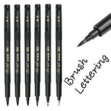 Ensemble de stylos de calligraphie et de lettrage à la main, 6 pièces, pour dessin, écriture, Signature, apprentissage, marqueurs à brosse Extra Fine, fournitures artistiques