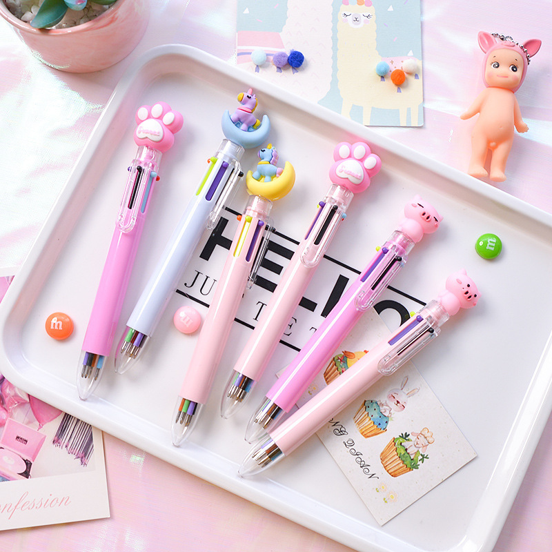 2020 NEW Price Of New Listing Multicolored Pen Ballpoint Pen 0.5mm 6 Colors In One Cartoon Modeling 1pcs/lot Hot Sale At A Loss
