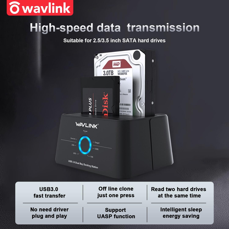 Wavlink hdd docking station sata disco rígido gabinete sata para usb 3.0 adaptador para 2.5 3.5 ssd caixa de disco hd doca