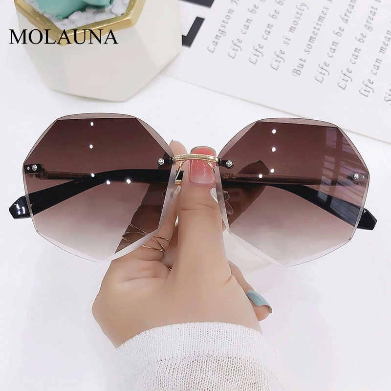 2021 Tanpa Bingkai Kacamata Hitam Wanita Merek Desain Berjemur Kacamata Gradien Warna Cutting Lensa Frameless Logam Kacamata UV400