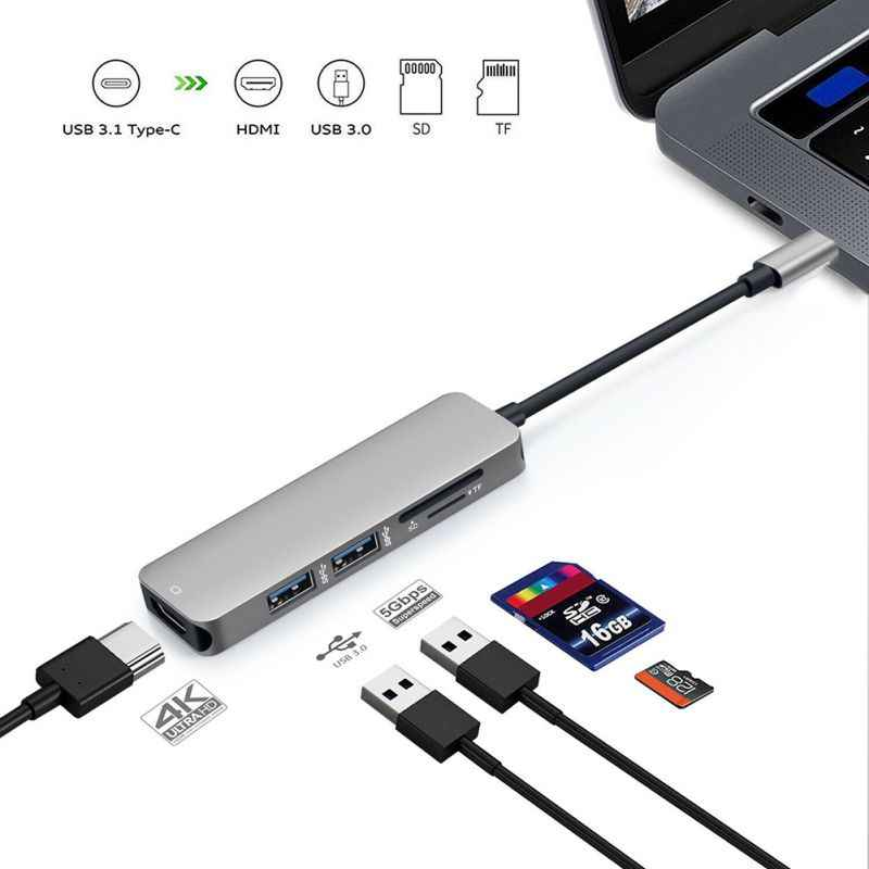Card Reader Type-C To HDMI UHD Slim USB-C Micro/Secure Digital Memory Cards Adapter Hub Cable