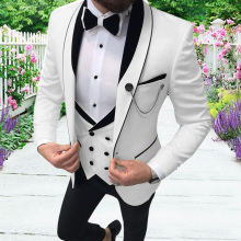 Pants Blazer Grooms Wedding Vest Prom-Tuxedos Casual-Suits Slim-Fit Lapel Party Double-Breasted