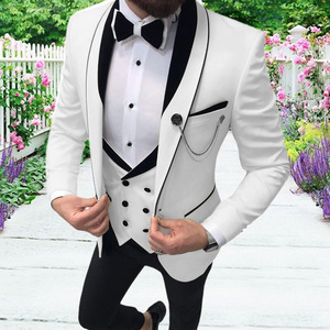 Aesido Men's Casual Suits Slim Fit 3 Piece Prom Tuxedos Shawl Lapel Double Breasted Vest Blazer Pants Grooms Wedding Party 2021