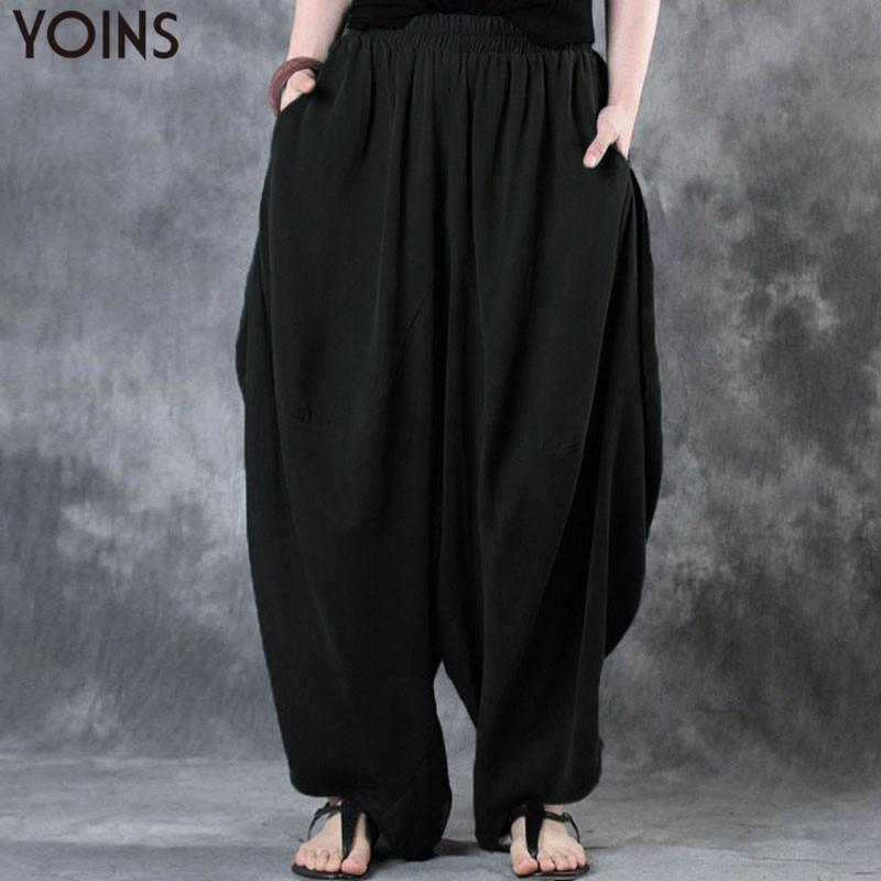 2019 YOINS Woman Trousers Cotton Linen Loose Wide Leg Pants Elastic Waist Vintage Casual Solid Baggy Harem Pants Plus Size