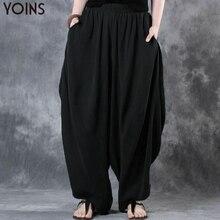 2019 YOINS Woman Trousers Cotton Linen Loose Wide Leg Pants Elastic Waist Vintag