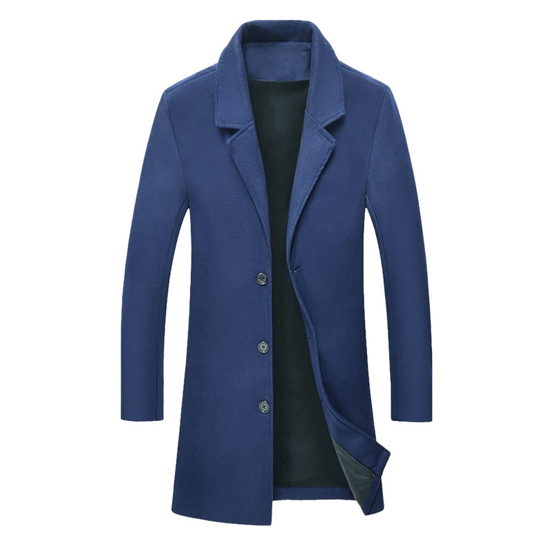 Litthing Wool Long Coat Men Autumn Winter Brand Jacket Male Overcoat Casual Solid Slim Collar Coats Long Trench Coat Streetwear