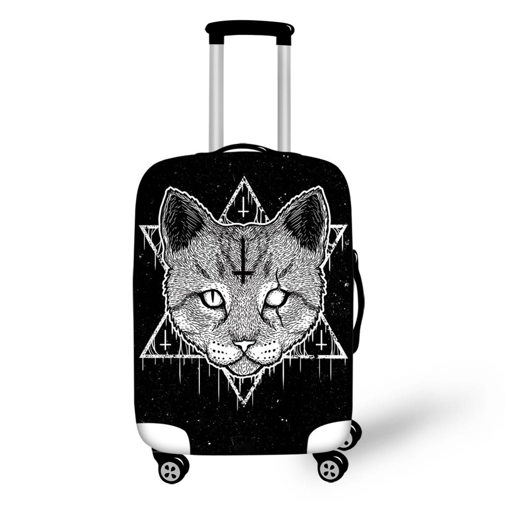 Soft Elastic Luggage Covers for 18-32 inch Suitcase Gothic Black Cat Print Travel Suitcase Protective Cover Luggage Accessories
