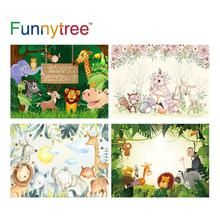 Allenjoy photography jungle birthday party Forest backdrop Wild Animals Safari party wood background Custom children photophone