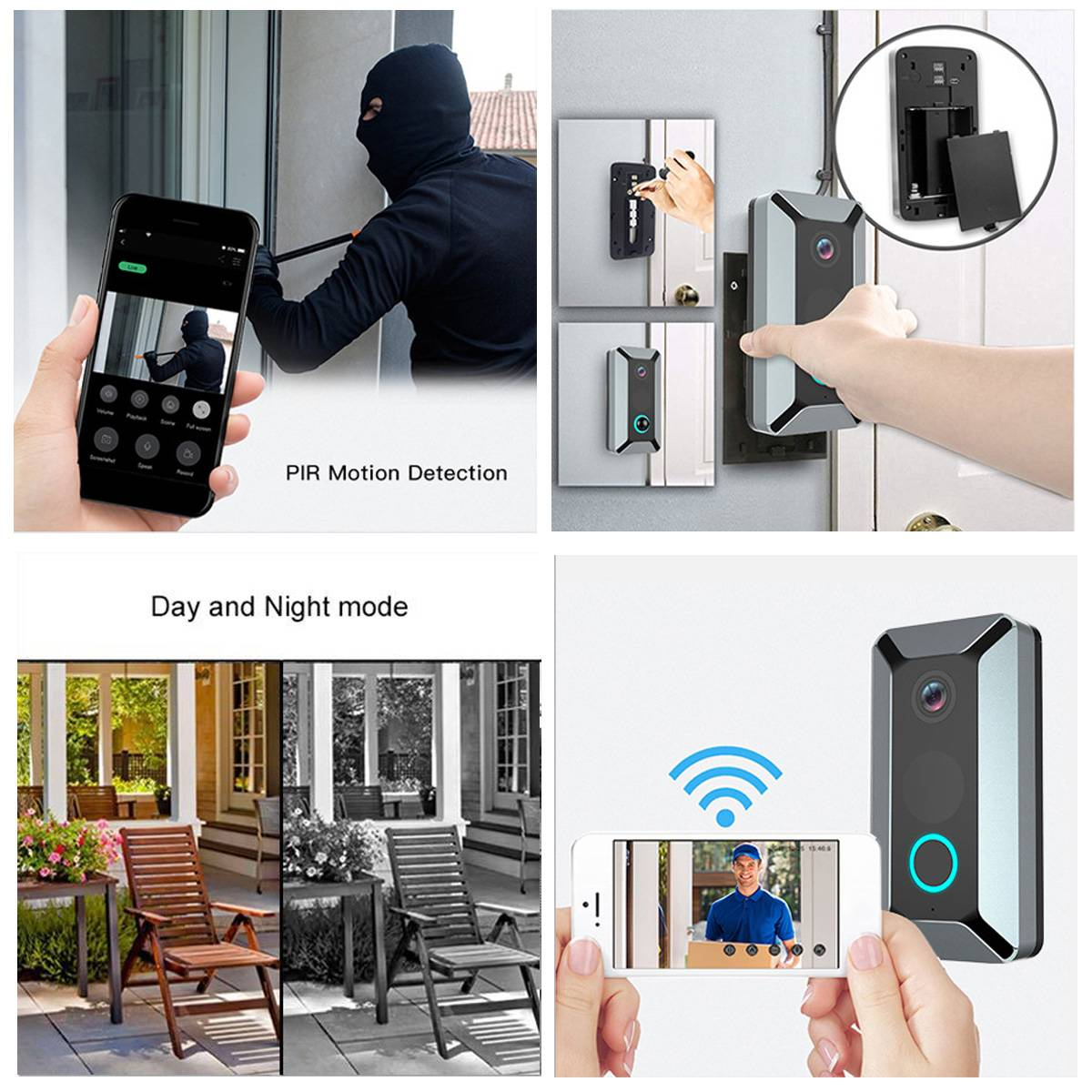 Video doorbell v6 radio camera V6 720P 166° Wifi Smart Wireless Video Doorbell Movement Detecting Rainproof