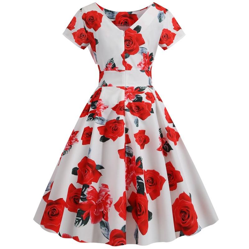 Summer Floral Print Elegant A-line Party Dress Women Slim White Short Sleeve Swing Pin up Vintage Dresses Plus Size Robe Femme 63