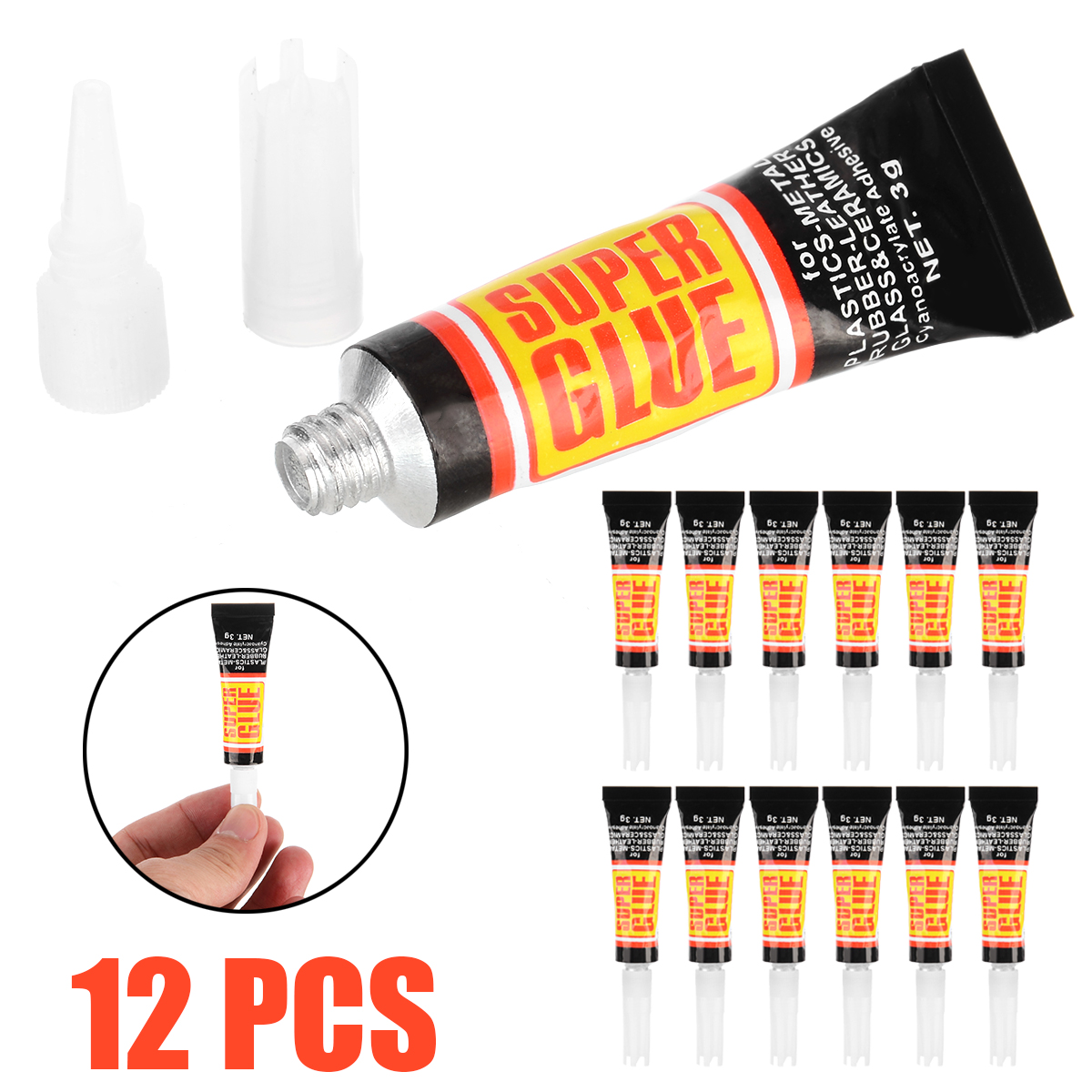 12pcs 3g Quick Dry Super Glue Mini Liquid Gel Tube Super Glue For DIY Metal Glass Plastic Handmade Repair Strong Adhesive Tool