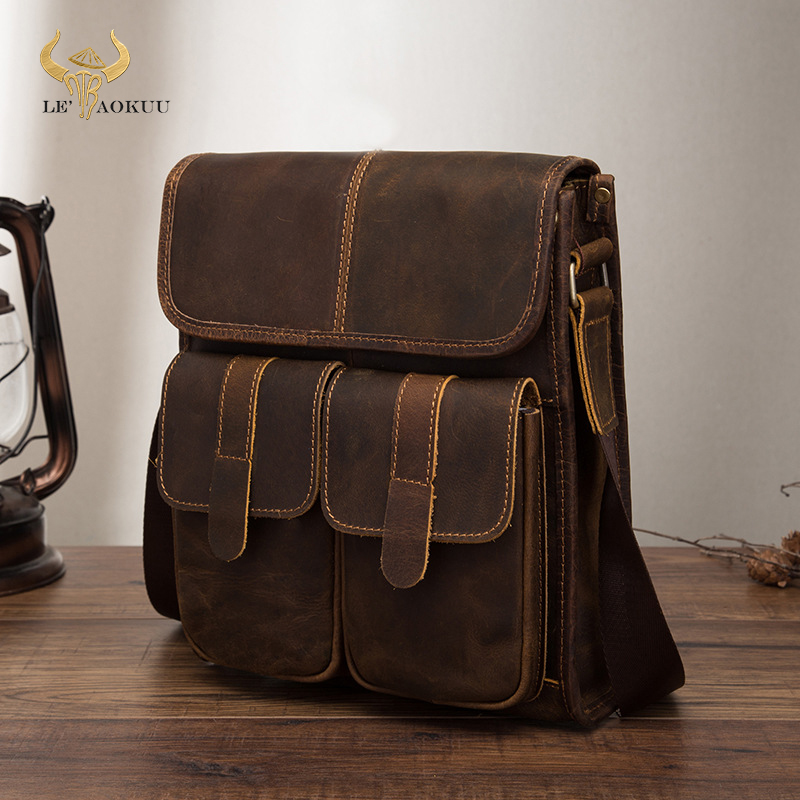 "Real Leather Male Design One Shoulder Messenger bag cowhide fashion Cross body Bag 10"" Pad University School Book bag 009 b