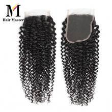 Haar Master Braziliaanse Krullend Wave Sluiting Remy Human Hair Sluiting 4x4 Natuur Kleur Vetersluiting Krullend Sluiting Gratis verzending