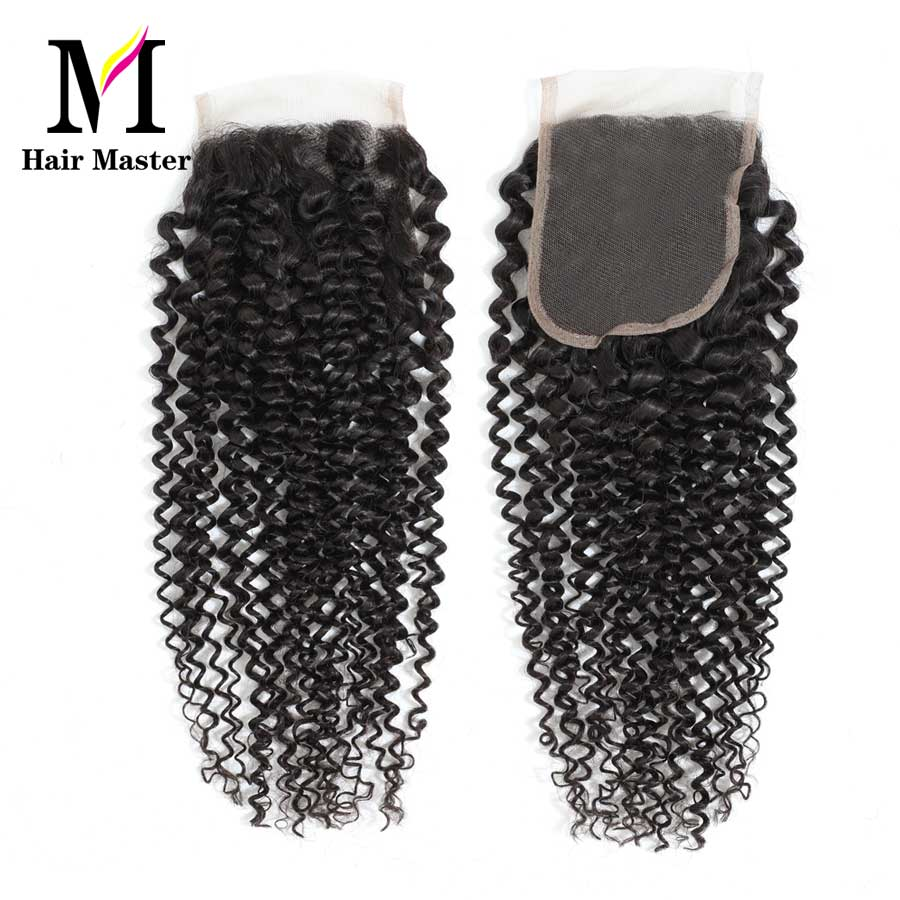 Hair Master Brazilian Curly Wave Closure Remy Human Hair Closure 4x4 Nature Color Lace Closure Curly Closure Free Shipping-in Closures from Hair Extensions & Wigs