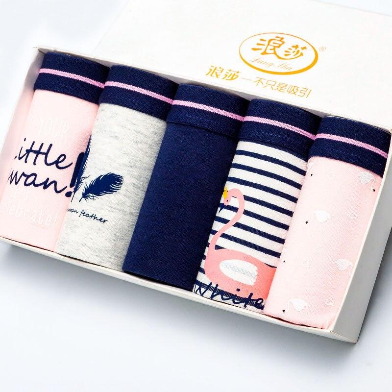 LANGSHA 5Pcs/lot Cotton Panties Women Underwear Breathable Seamless Cute Print Briefs Soft Comfort Female Fashion Lingerie L XXL