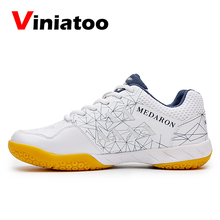 цена 2020 Women Men Professional Badminton Shoes White Black Size 36-45 Tennis Sneakers Ladies Anti Slip Light Volleyball Shoes онлайн в 2017 году