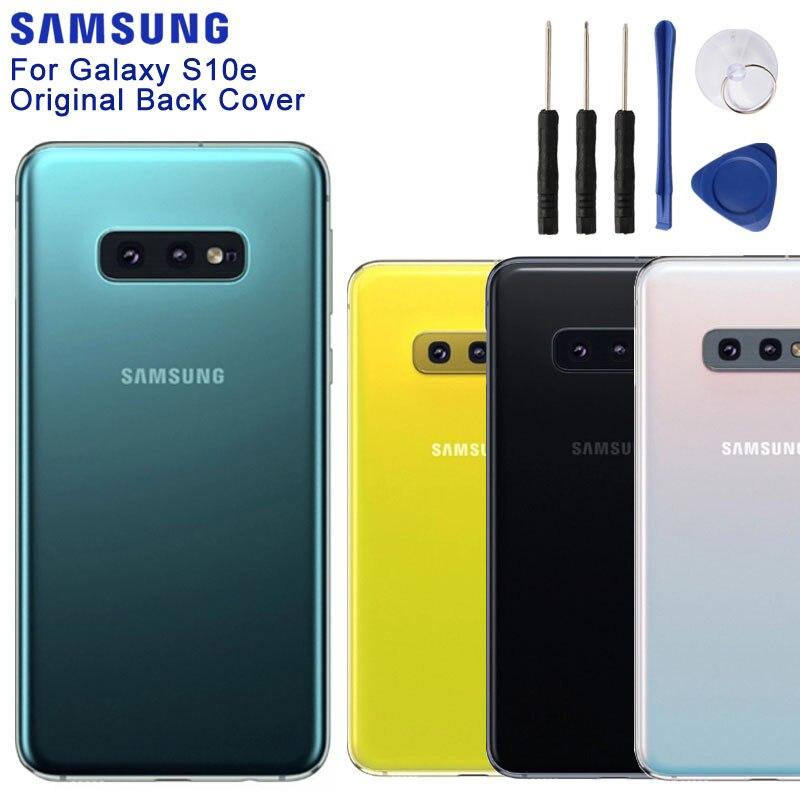 Samsung originais Vidro Habitação Tampa Traseira Casos Para SAMSUNG Galaxy S10e SM-G9700 Ferramentas Porta Traseira Da Bateria Do Telefone
