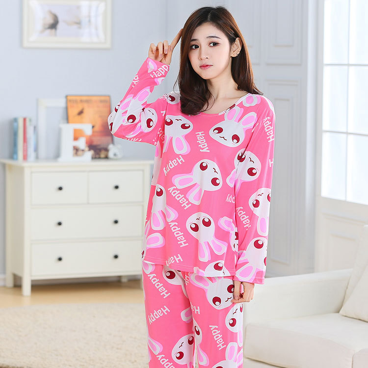 Jun Xin Pajamas Women's Spring And Autumn Sweet Printed Thin Pullover Pajamas Cartoon Rose-red Rabbit Head Long Sleeve Tracksuit