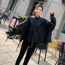 SWYIVY Womens PU Leather Jacket Loose Short Casual Motorcycle Coat Faux Biker Jackets Female Clothing