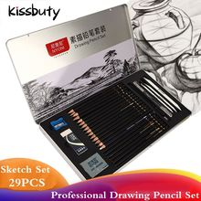 29Pcs Professional Sketch Pencil Set Sketching Charcoal Drawing Kit Wood Pencils Set For Painter School Students Art Supplies new hot authentic sketch drawing charcoal pencil eraser tool kit beginner art supplies arts sets