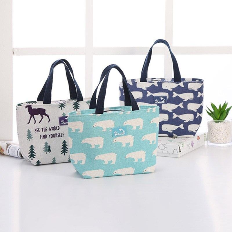 1Pcs Warm Insulation Kids Picnic Bags Cute Cartoon Outdoor Travel Children Breakfast Bags Cotton Linen Large Capacity Lunch Bag