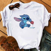 Graphic Women Cartoon Coffee T-Shirt Lilo Stitch Tshirts Female Summer Print Fas