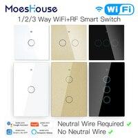 WiFi akıllı işık dokunmatik anahtarı nötr tel gerekli akıllı yaşam Tuya APP kontrolü Alexa Google ev uyumlu 1/2/3 Gang ab abd