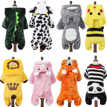 Мультфильм животных костюм для кошки, собаки для маленьких собак кошек Зимний теплый комбинезон для животных пижамы для Чихуахуа Одежда для йоркширских терьеров одежда для щенка
