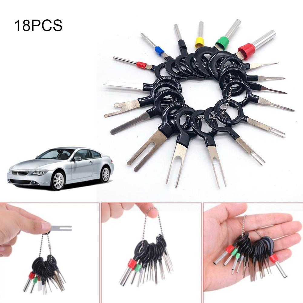 18Pcs Automotive Plug Terminal Remove Tool Kit Set Key Pin Car Electrical Wire Crimp Connector Extractor Kit Car Accessories