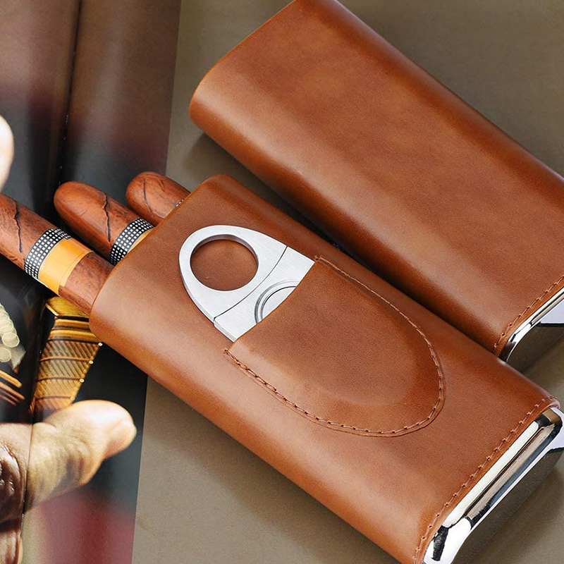 High Quality 3-Finger Humidors Portable Cigar Box Brown Cigar Leather Case with Cigar Cutter
