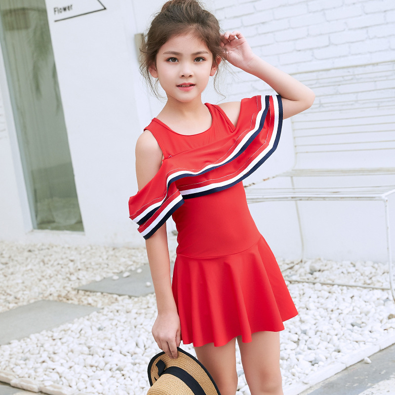 CHILDREN'S Swimwear Big Virgin Girls Dress-GIRL'S 6-8-12-18-Year-Old Flounced Off-Shoulder Swimwear