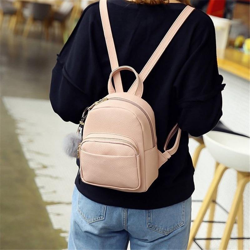 Миниатюрные рюкзаки из искусственной кожи для студентов, сумки с пушистыми шариками и подвесками на плечо, школьные мягкие модные маленькие дорожные ранцы для женщин, рюкзак-3