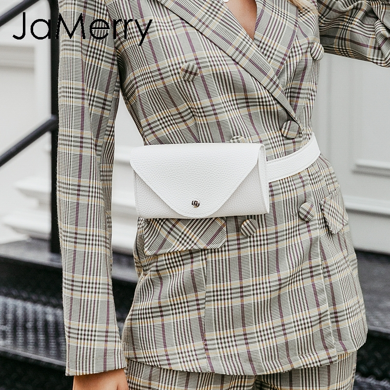 JaMerry Vintage Trendy Pu Leather Women Waist Bag Button Belted Adjustable Female Messenger Bags Casual Fanny Pack Crossbody Bag